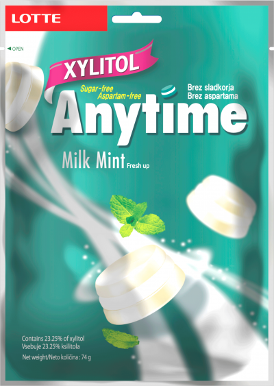 LOTTE anytime xylitol bonboni, milk mint 74g